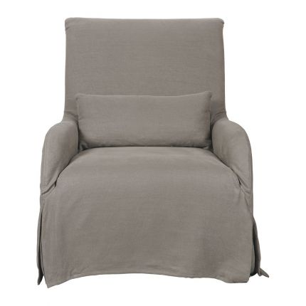 Taupe, linen armchair with removable cover