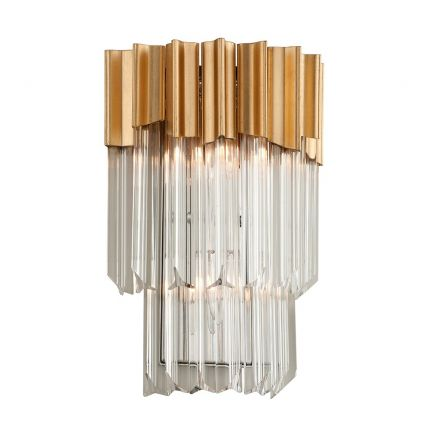 A glamorous clear crystal glass and gold leaf wall light