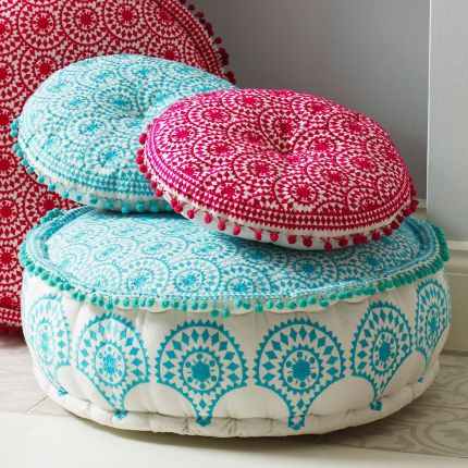 Round embroidered turquoise bohemian patterned pouffe