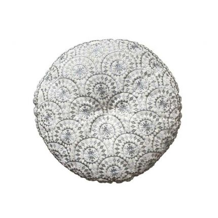 Round embroidered silver bohemian patterned cushion