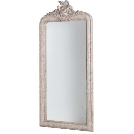 Classic french tall chic distressed crest mirror