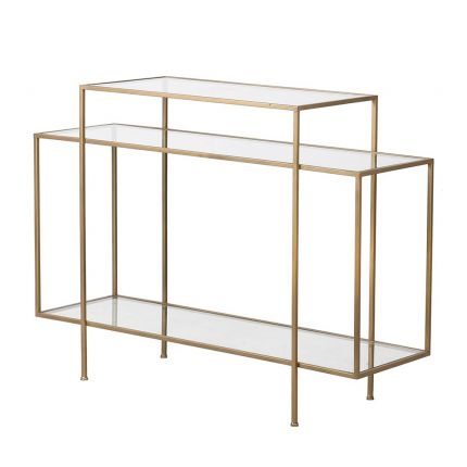 Contemporary gold finish console table with multiple glass shelves
