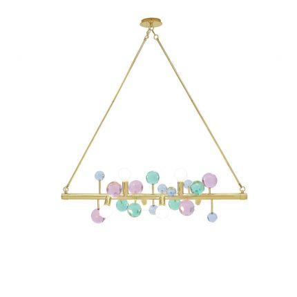 A luxurious multicoloured acrylic globe chandelier suspended by brass rods