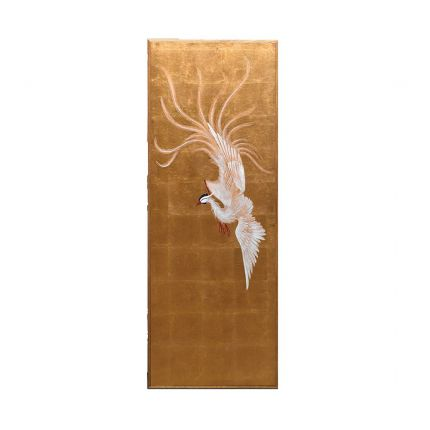 A glamorous oriental style print with a white bird and gold background