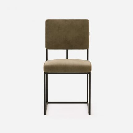 Modern, sophisticated dining chair with an angular design