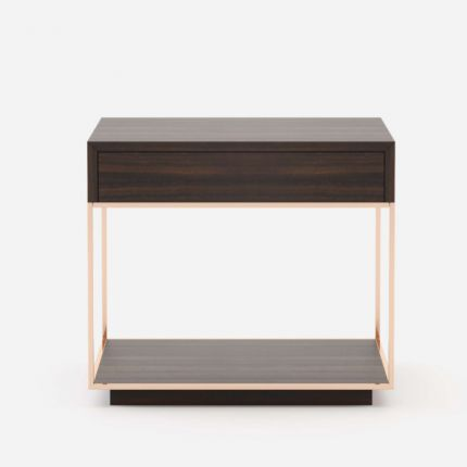 A chic modern eucalyptus wood and copper nightstand bedside table