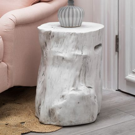 White Painted Wooden Log Effect Stool