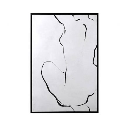 A luxurious minimal sketch of a woman with a black frame