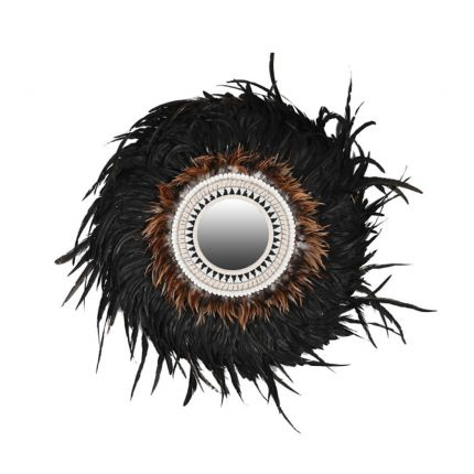 A luxurious feather mirror with beaded details