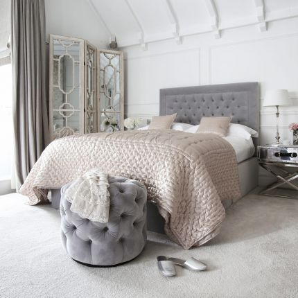 Luxury nickel studded bed with deep buttoning in luxury grey velvet