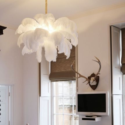 large white ostrich feather chandelier