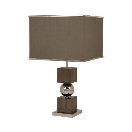 A chic smoke acrylic table lamp with polished nickel accents
