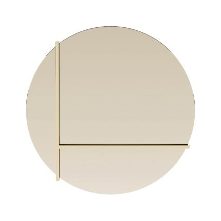 Round mirror with golden steel frame and detailing