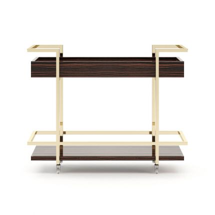A luxurious mid-century inspired tea cart/drinks trolley with golden accents