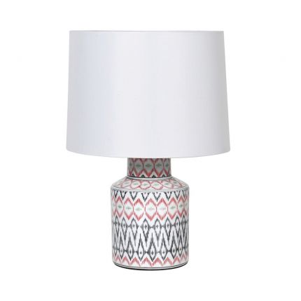 Colourful aztec table lamp with white lampshade