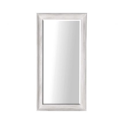 large white mirror with a distressed finish