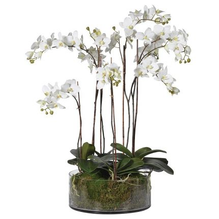 Artificial Orchids In Glass Pot