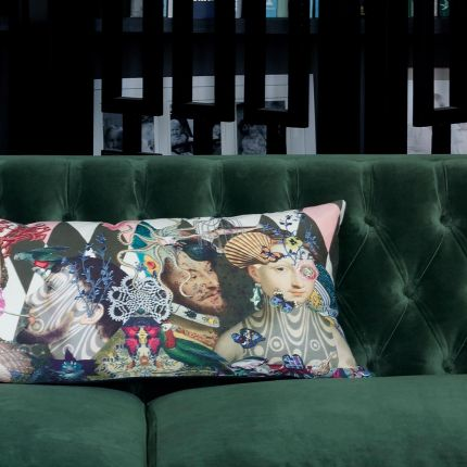 Renaissance printed cushion with colourful embroidery
