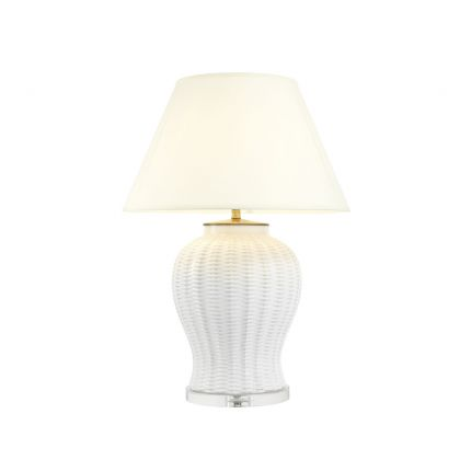 White ceramic lamp with off-white shade and crystal glass base
