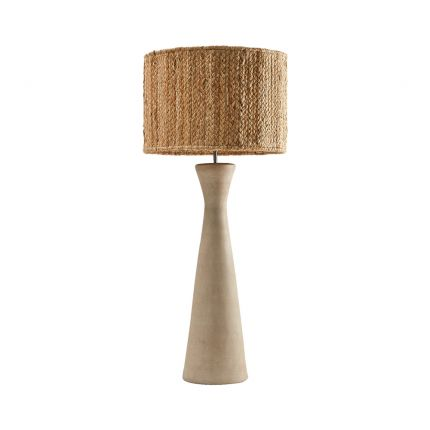 Luxurious natural wood table lamp with jute lampshade