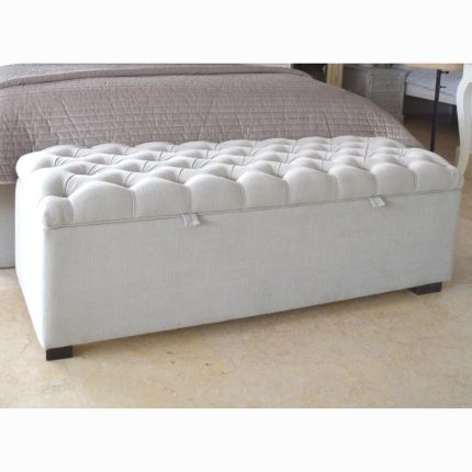 Luxury blanket box with deep buttoned lid