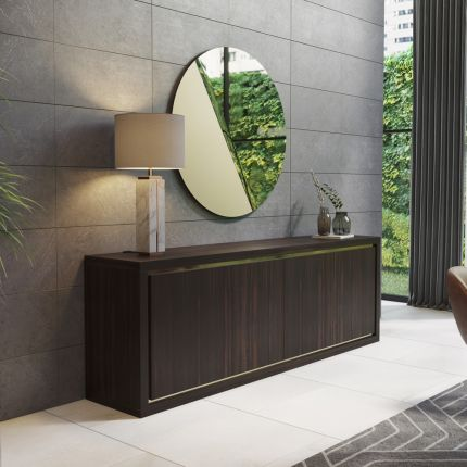 A glamorous sideboard in a natural, deep brown wood finish