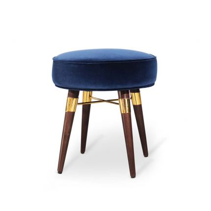 A luxurious, velvet stool with walnut wood and brass detailed legs.