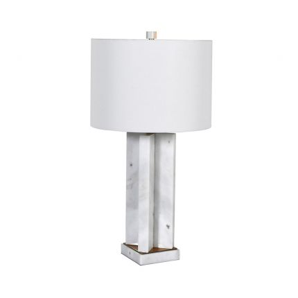 A beautiful table lamp with a wonderful white marble base and lovely white linen shade