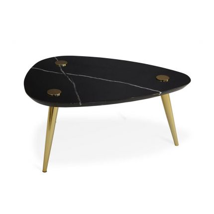 A luxurious triangular marble table with polished brass legs and accents