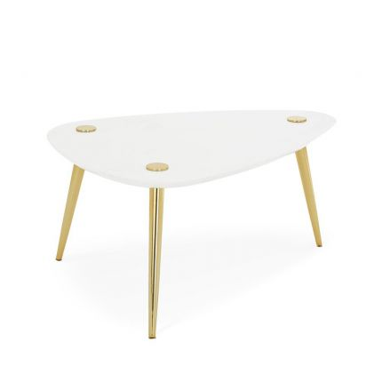Luxurious curved, triangle marble table with polished brass legs
