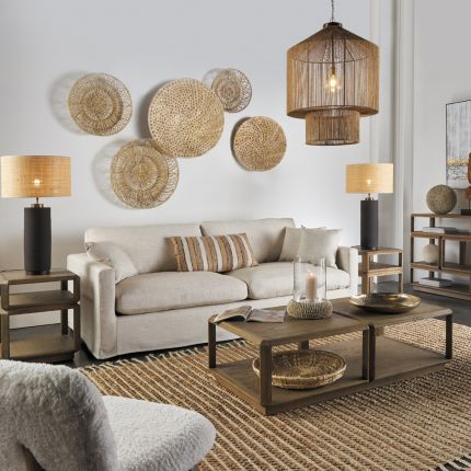 A gorgeously intricate natural abaca and iron wall decorations