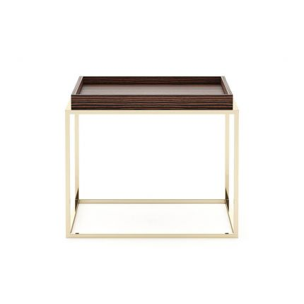 A luxurious side table with golden legs and a smoked matte eucalyptus wood tabletop