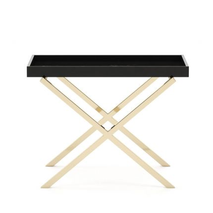 A luxurious black side table with golden X-shaped legs