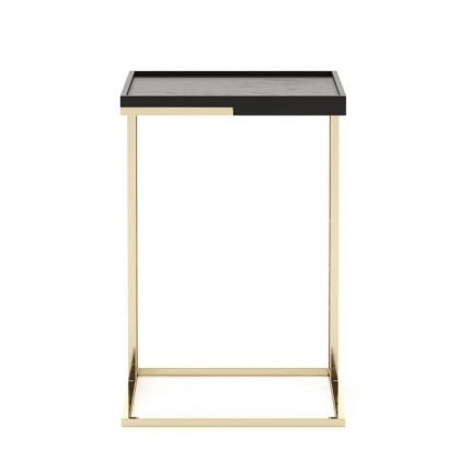 A chic and sophisticated black lacquered side table with gold-painted stainless steel