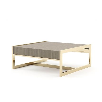 A luxurious coffee table made from aged oak with a golden frame