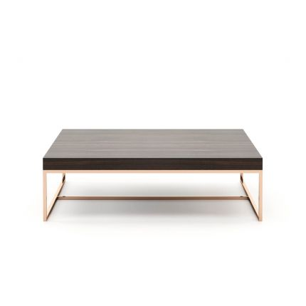 A chic modern coffee table with a copper frame and wooden surface