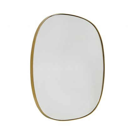 Luxurious stylish curved edge wall mirror with golden brass frame