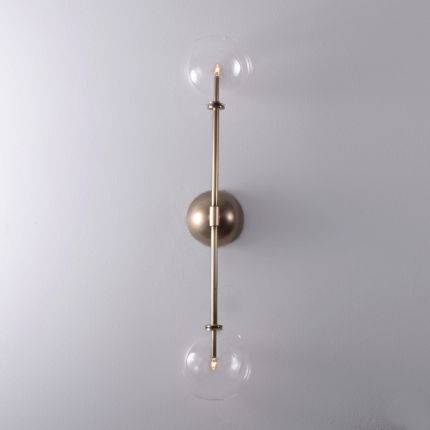 Retro natural brass wall lamp with clear glass globes