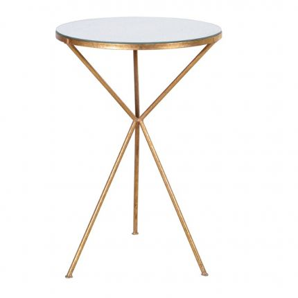 Mirrored tabletop, gold tripod legged side table