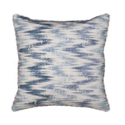 blue and cream abstract cushion with vintage look