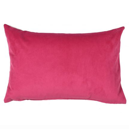 Pink polyester cushion with neutral tone reverse side