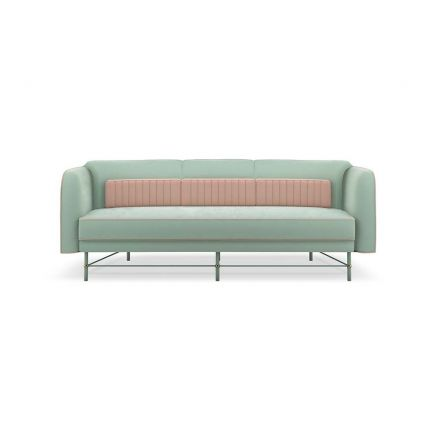 Velvet upholstered sofa with contrasting piping and industrial-like feet