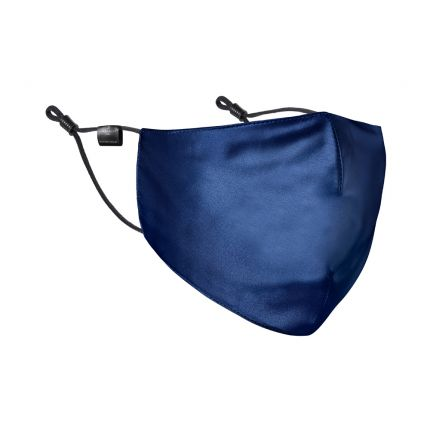 A stylish navy 100% Mulberry silk face mask with black straps