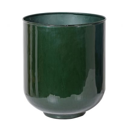Contemporary glossy forest green planter