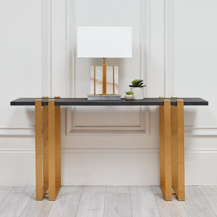 Concrete top gold finished console table