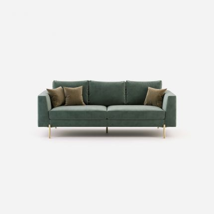 Luxury contemporary sofa upholstered in a cotton velvet with gold stainless steel legs