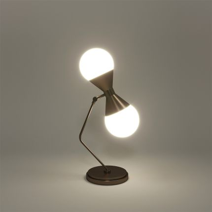 A stylish contemporary table lamp with two white opaque glass shades and brass frame