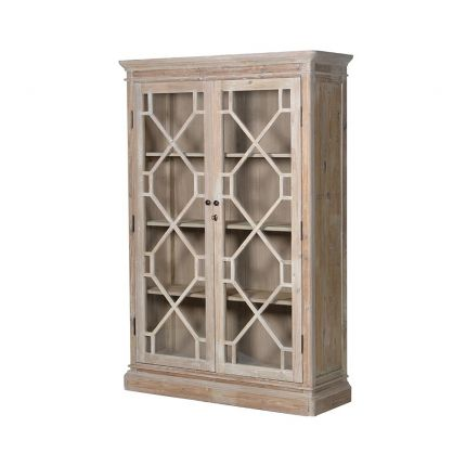 large wooden two-door bookcase cabinet