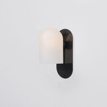 Black gunmetal solid brass wall lamp with translucent glass shade