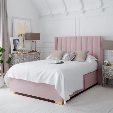 Glamorous fluted lined headboard with petite wings